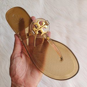 Tory Burch Mini Miller Jelly Sandals in Brown Sz 7